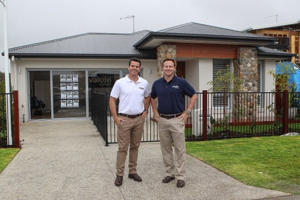 Jason Doerr and Tim Douglas outside the new display at Waterline Baysidenew
