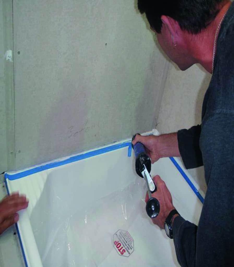 connector sealant to bath