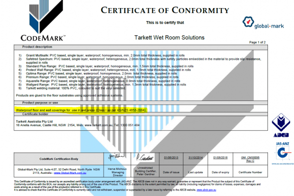 Vynil certificate of conformity Tarkett