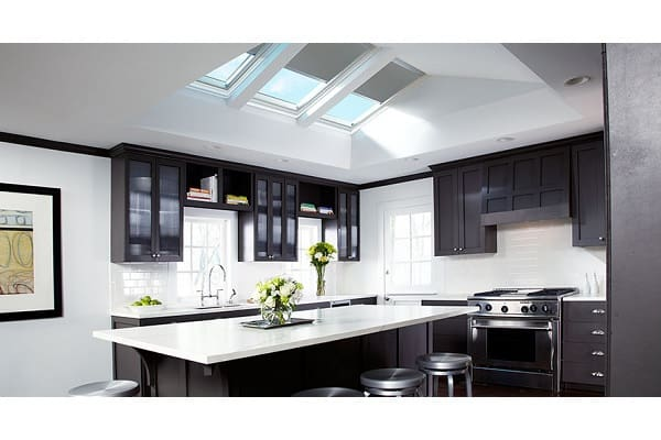kitchen sky gray blinds